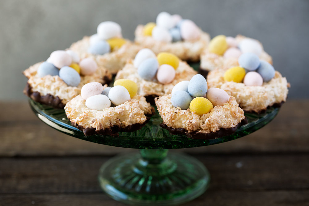 Easter Chocolate Coconut Macaroon Nests recipe from Cooking with cocktail rings with cadbury eggs