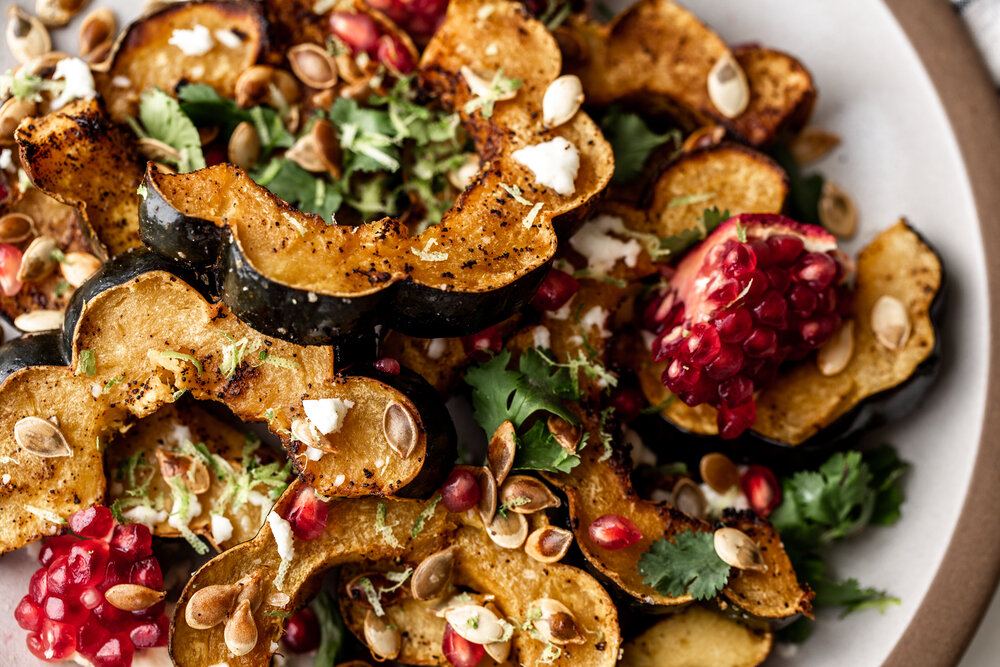 Ancho Chili Roasted Acorn Squash with Queso Fresco recipe from Cooking with Cocktail Rings