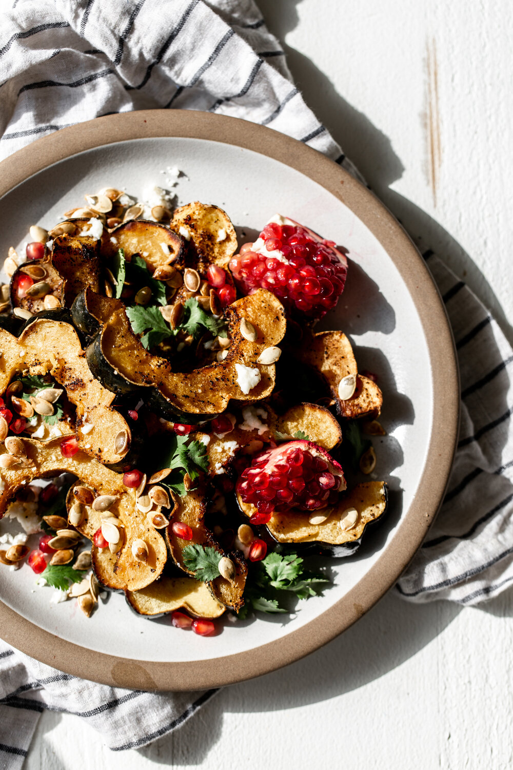 Ancho Chili Roasted Acorn Squash with Queso Fresco harsh light