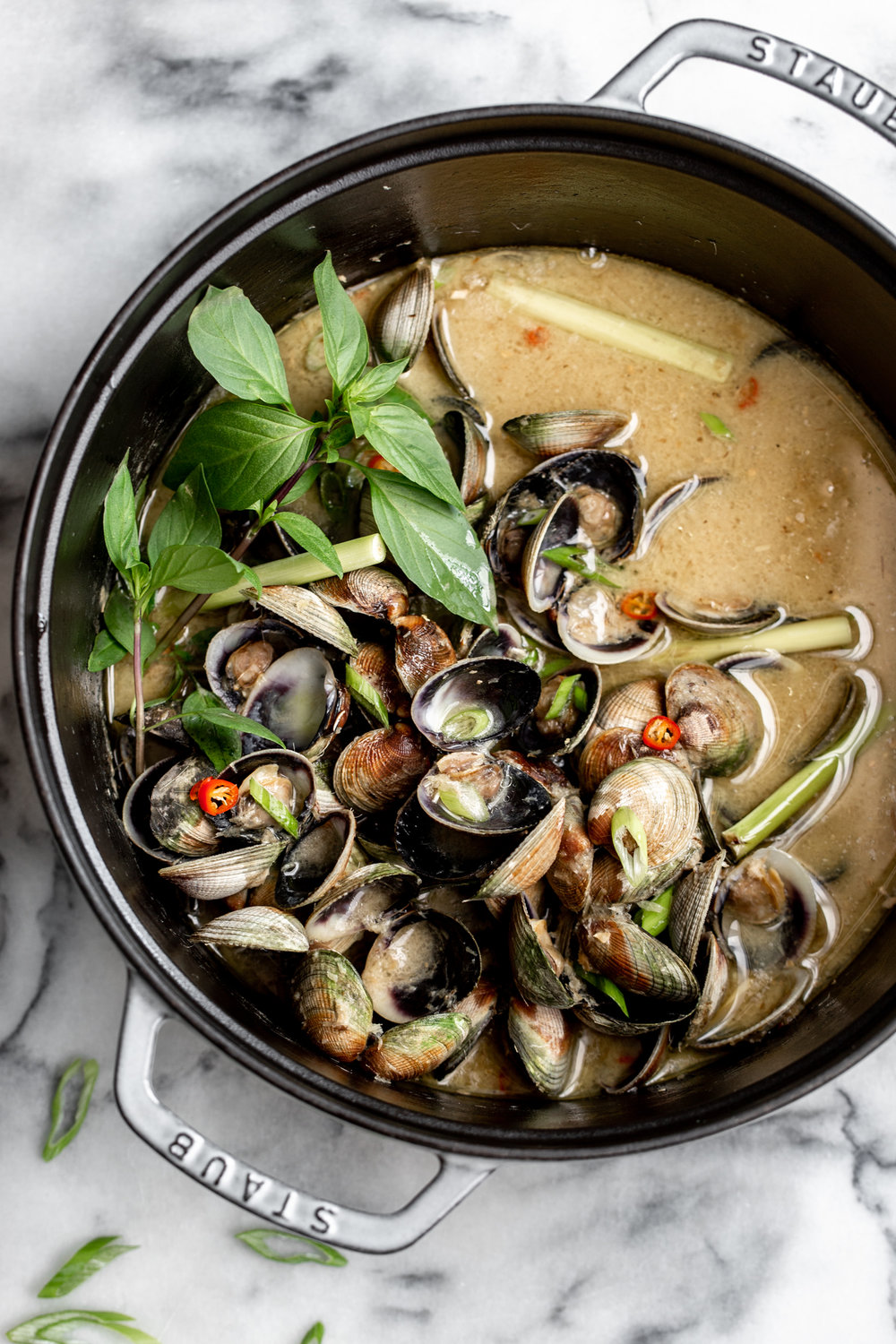 thai lemongrass coconut clams recipe from cooking with cocktail rings