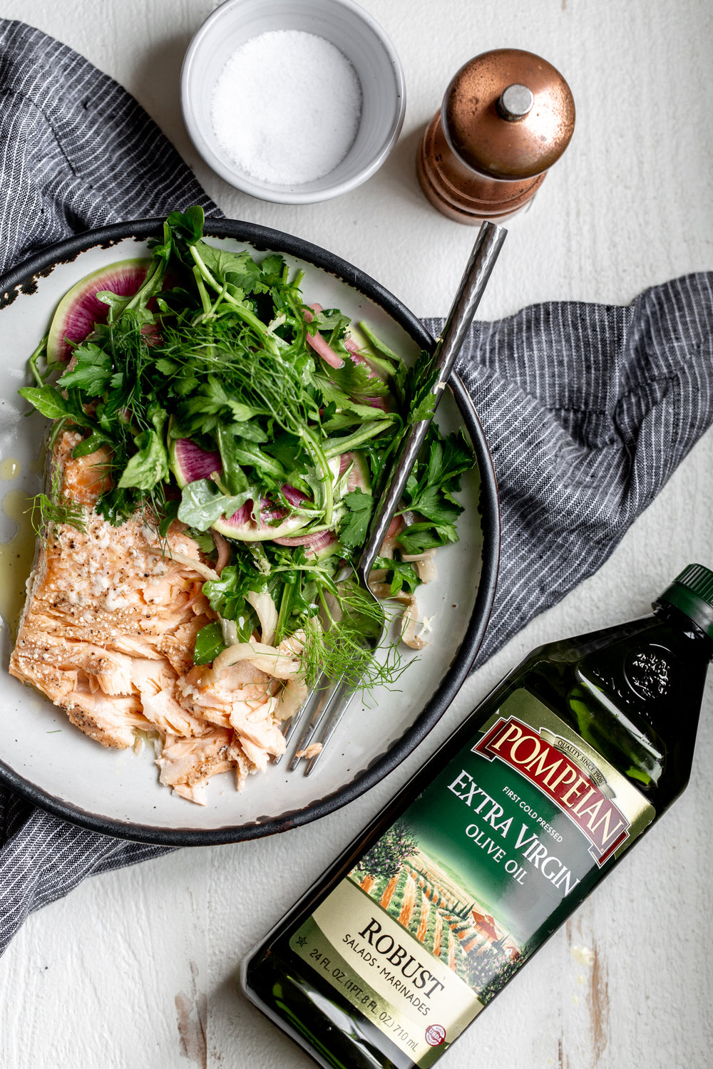 Olive Oil Slow-Poached Salmon with Fennel and Lemon Arugula Herb Salad Pompeian Olive Oil Cooking with Cocktail Rings