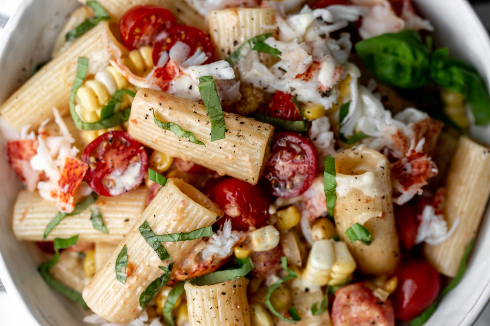 Summer Lobster and Corn Rigatoni recipe from cooking with cocktail rings closeup