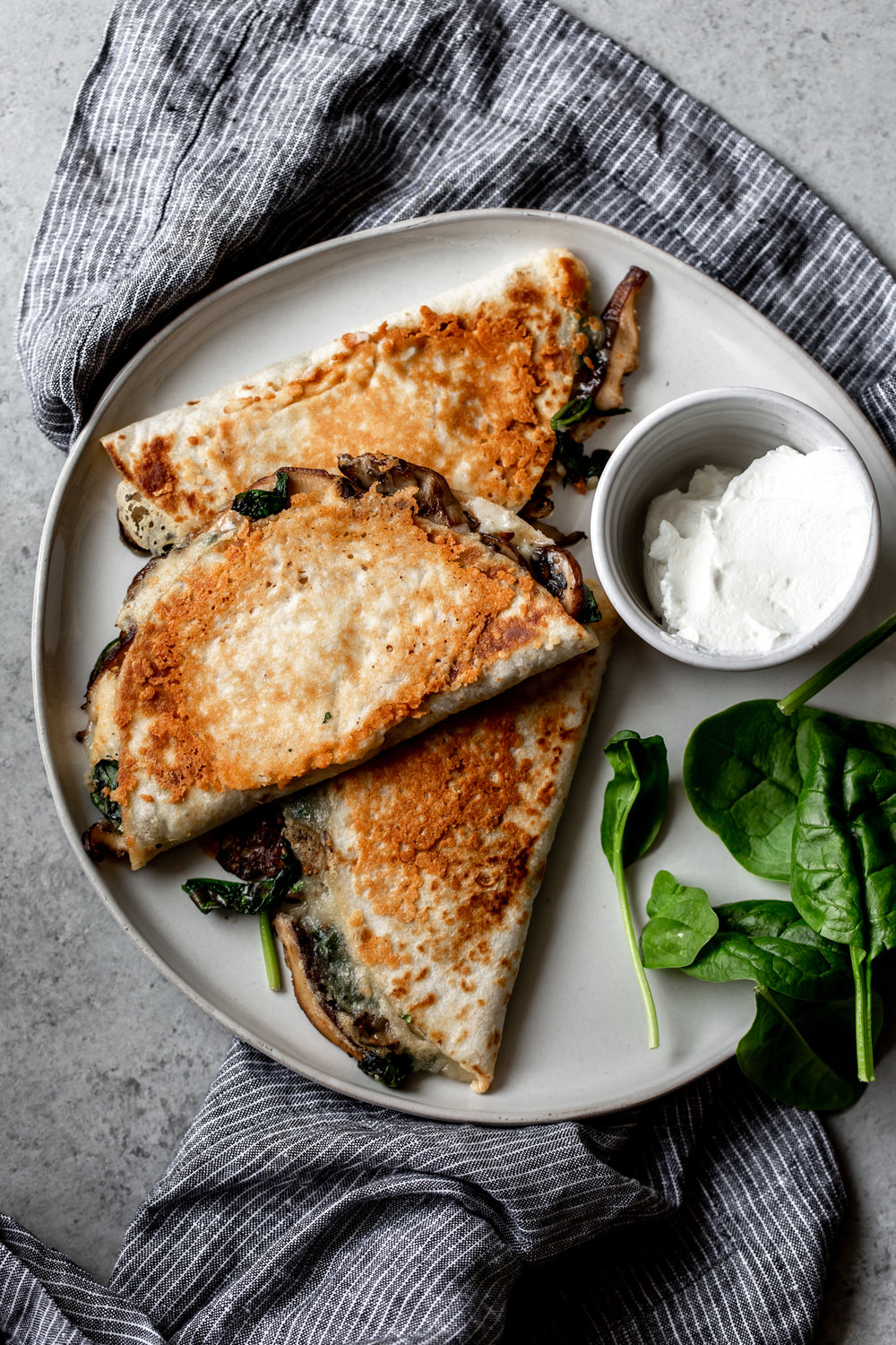 Mushroom and Spinach Quesadillas recipe from cooking with cocktail rings