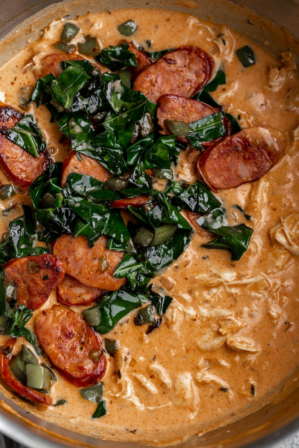 Creamy Cajun Pasta with Chicken and Andouille Sausage recipe from cooking with cocktail rings sauce