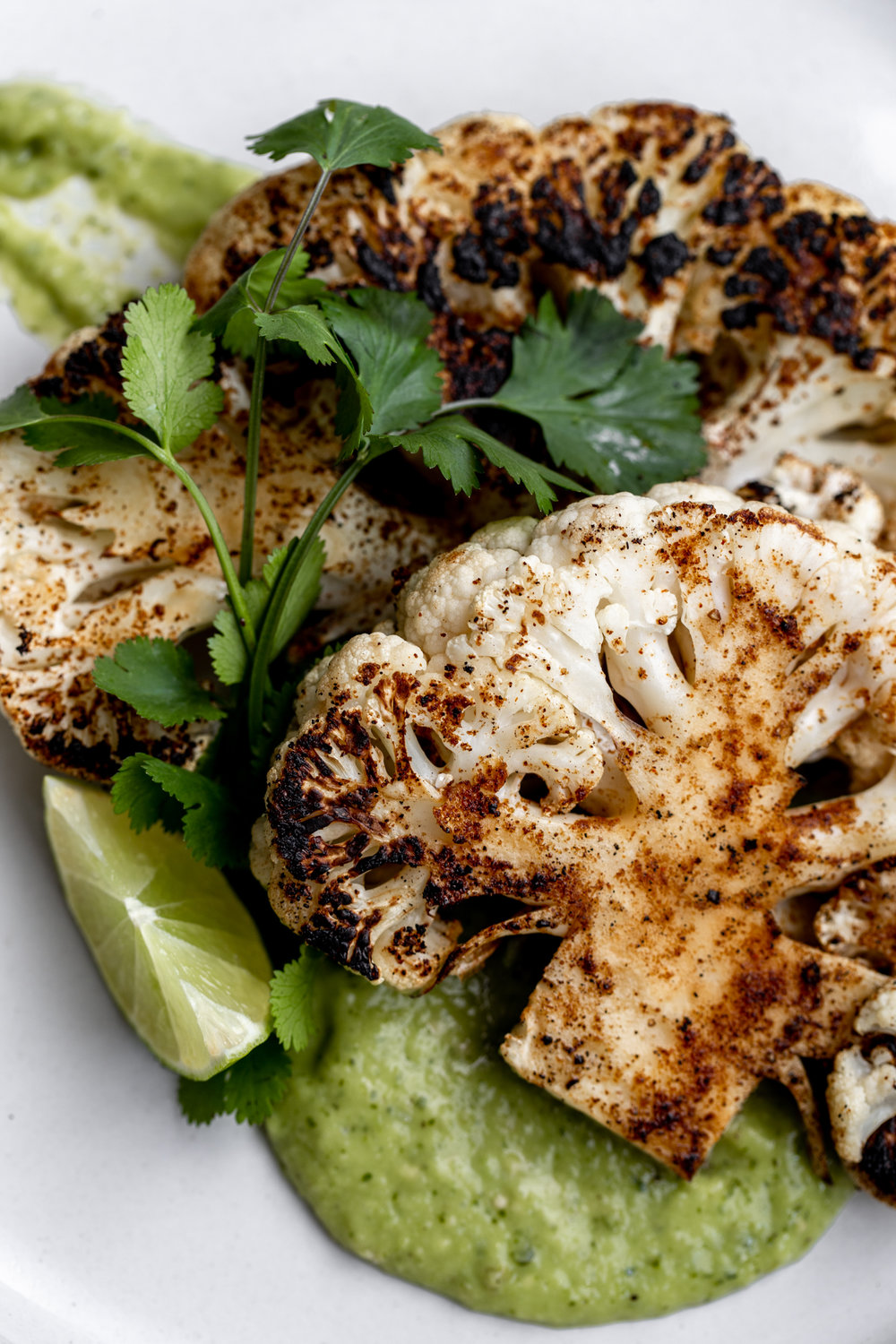 "Cauliflower ""Steaks"" with Avocado-Tomatillo Salsa recipe from cooking with cocktail rings"