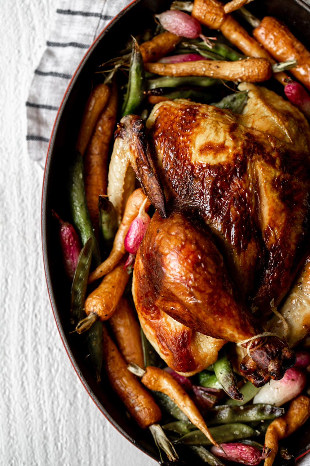 Buttermilk Brined Curry Spiced Roast Chicken with Spring Vegetables