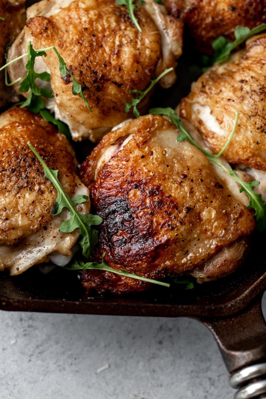Simple Salt & Pepper Cast Iron Chicken Thighs closeup