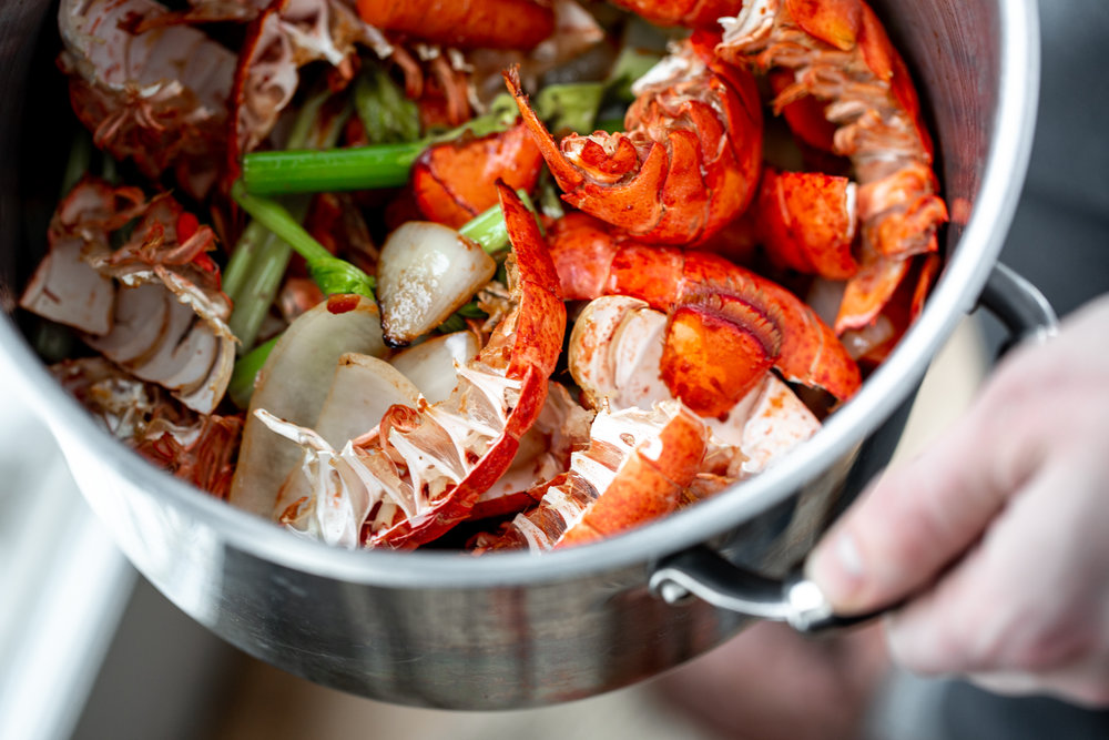 homemade seafood stock lobster shells