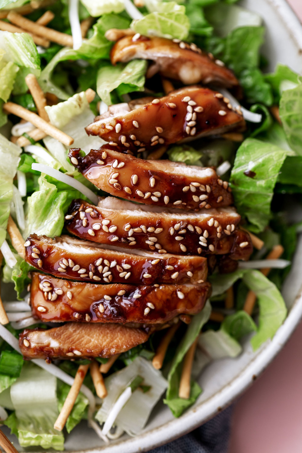 Crispy Teriyaki Chicken Saladrecipe from Cooking with Cocktail rings closeup