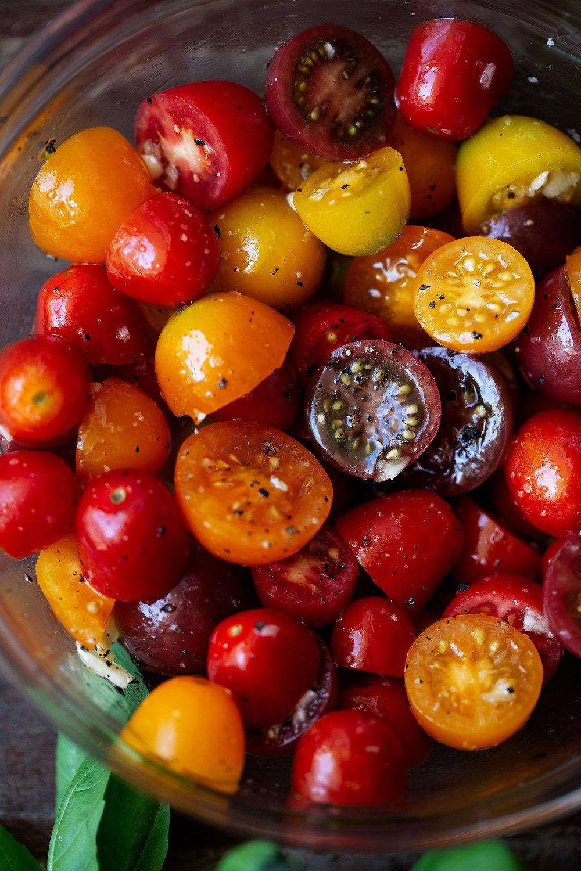 cherry tomatoes caprese eggs benedict