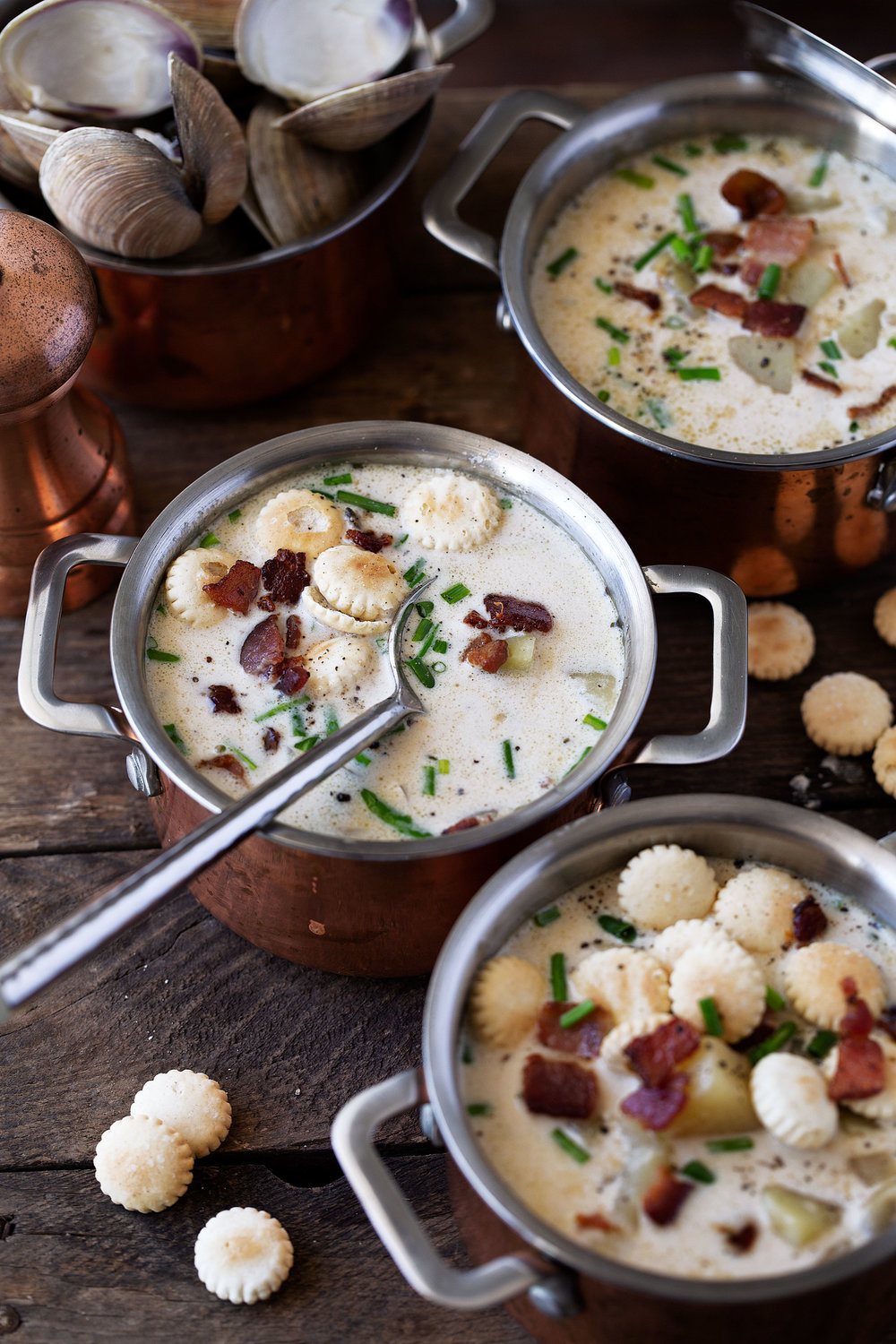 new england clam chowder recipe from cooking with cocktail rings closeup