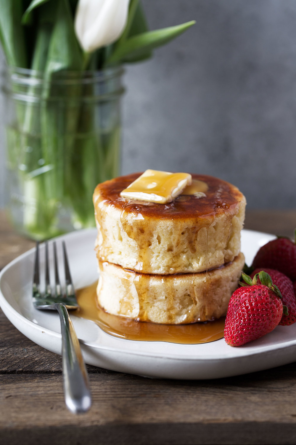 Japanese-style Soufflé Pancakes recipe from cooking with cocktail rings