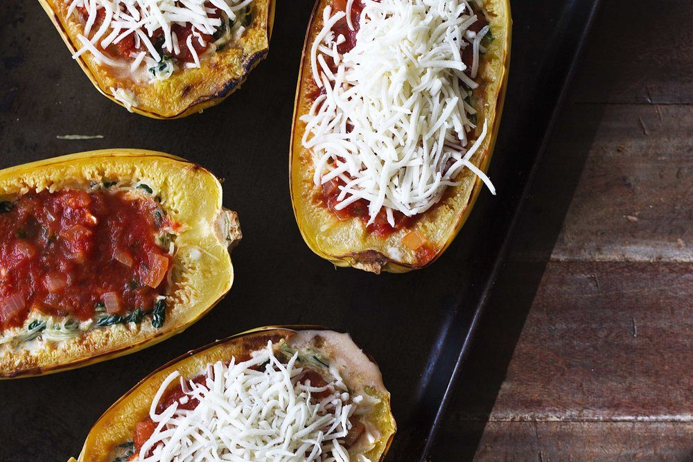 spaghetti squash boats filled cooking with cocktail rings