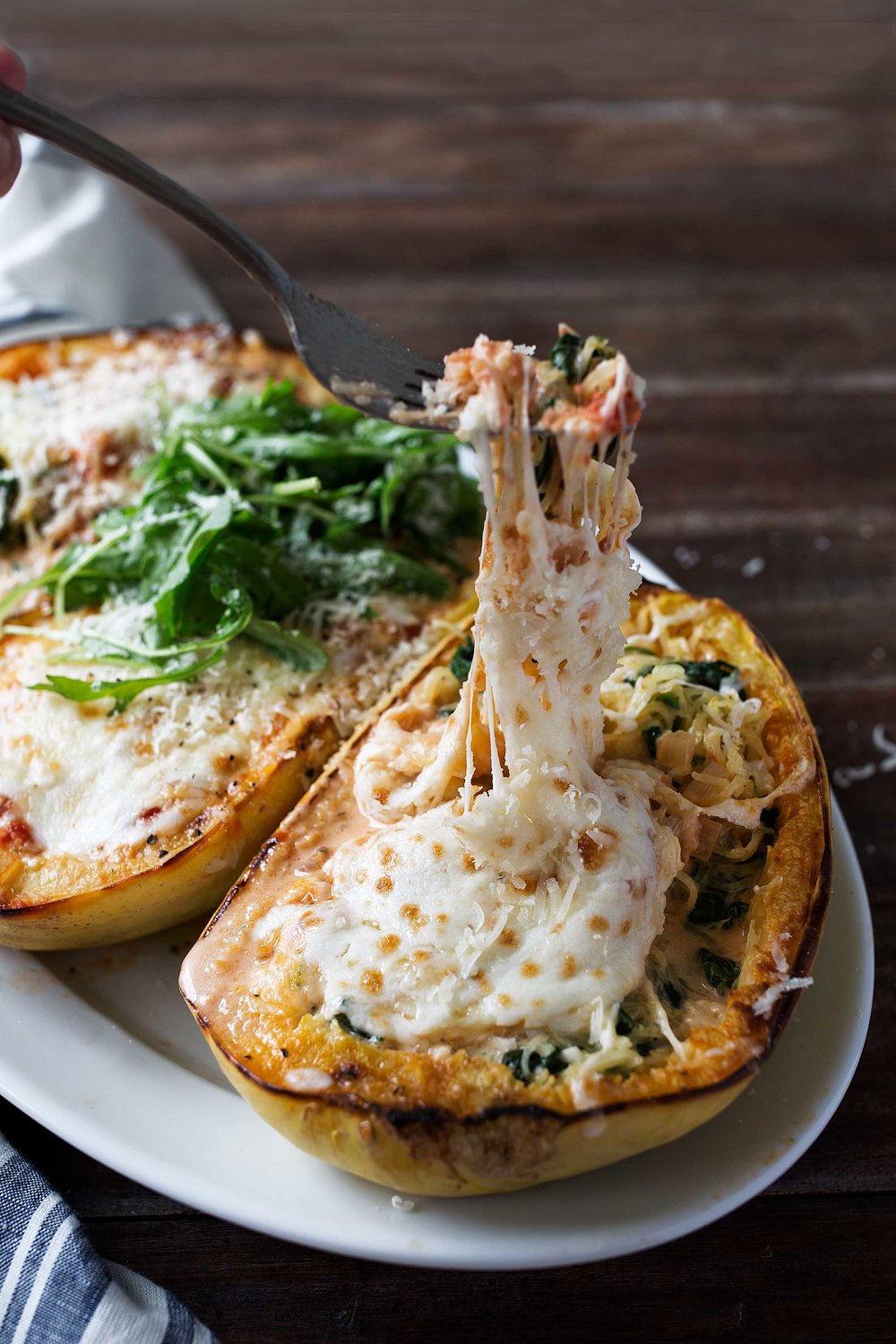 spaghetti squash lasagna boats recipe from cooking with cocktail rings