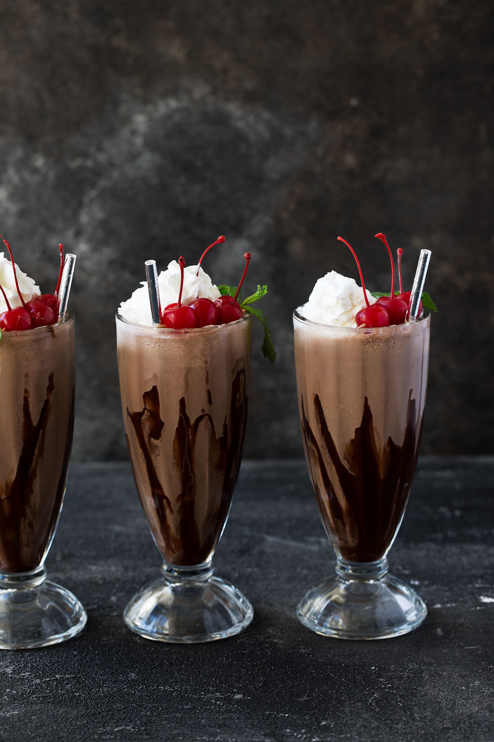 three double chocolate malt milkshakes cooking with cocktail rings