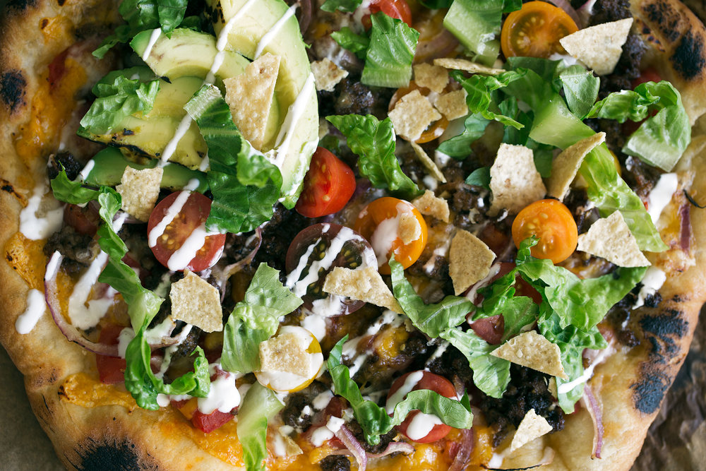 American Taco Pizza Cooking with Cocktail Rings