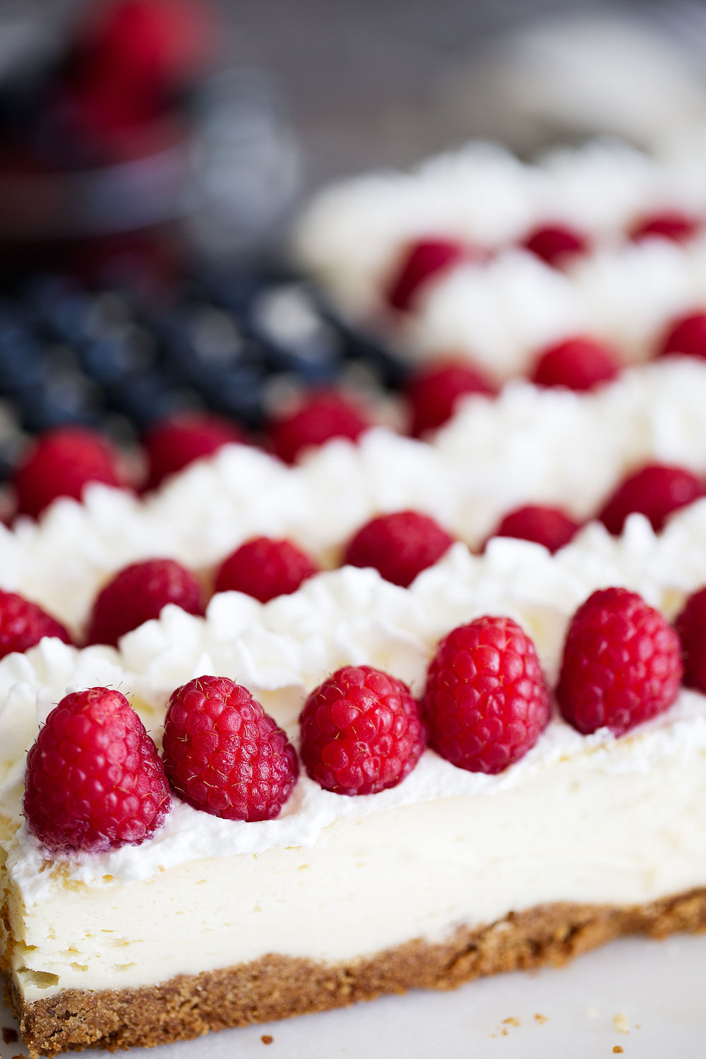 side view red white and blue cheesecake