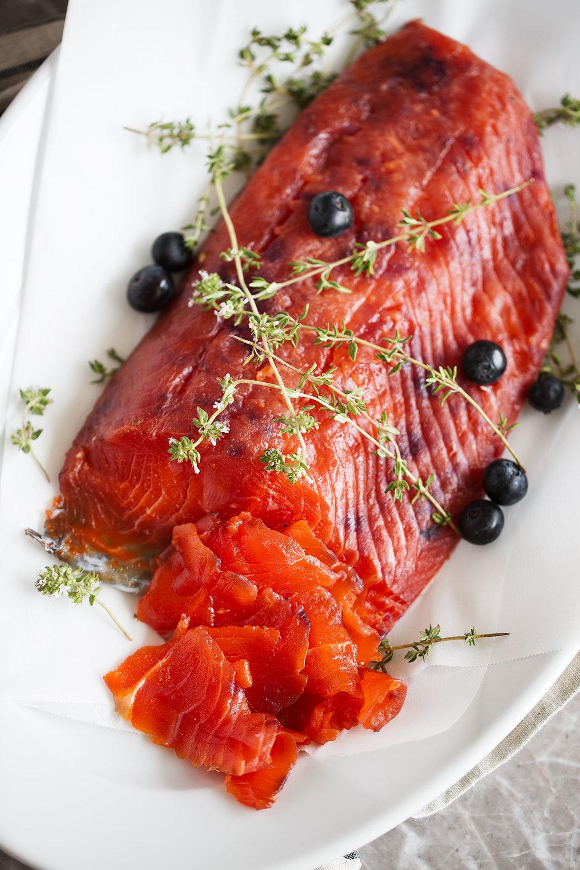 blueberry-cured salmon gravlax
