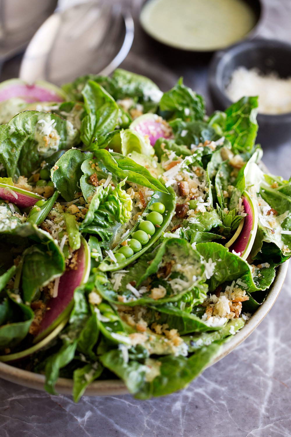 Little Gem Salad with Green Goddess Dressing and Buttered Breadcrumbs