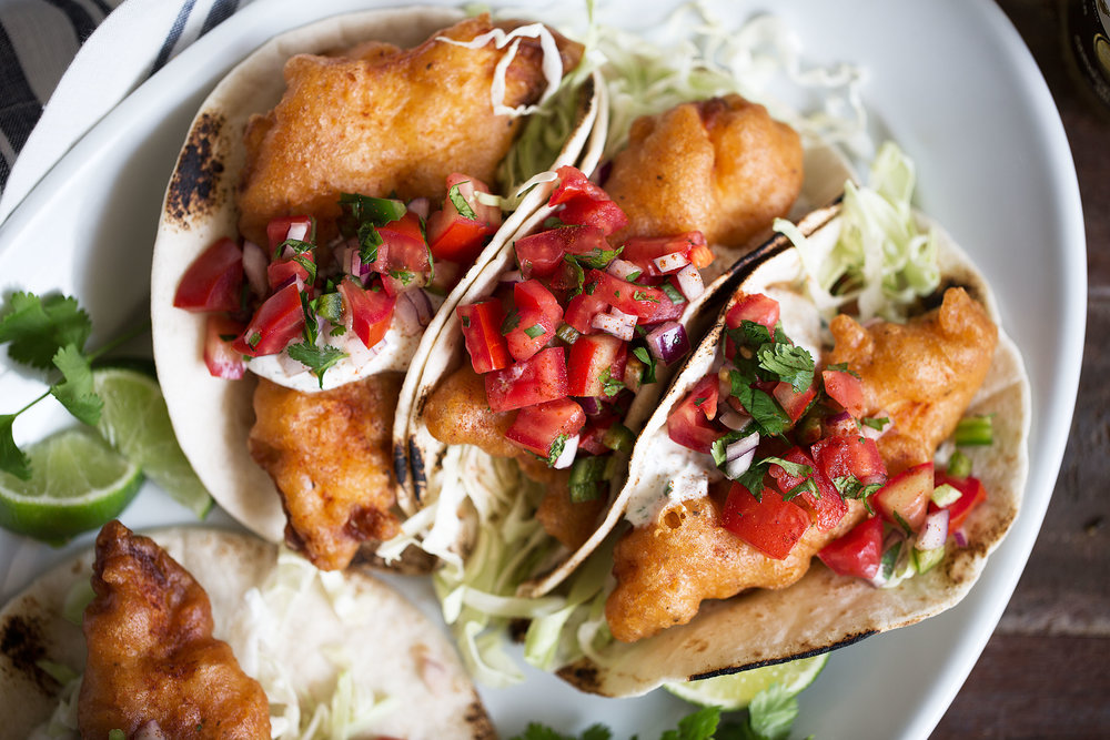 beer battered fish tacos with cabbage and pico cinco de mayo