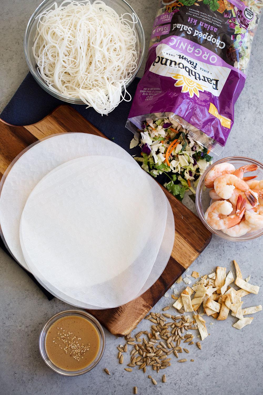 fresh asian chopped salad shrimp spring roll ingredient layout