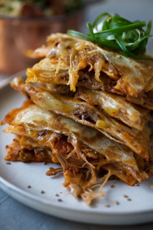 Korean Braised Pork and Kimchi Quesadilla