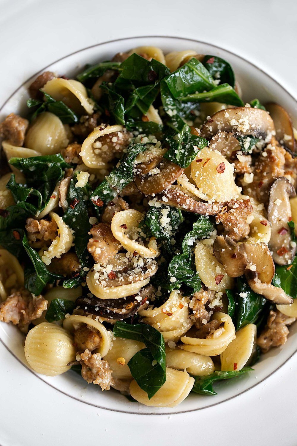 Orecchiette with Collard Greens, Sausage & Mixed Mushrooms
