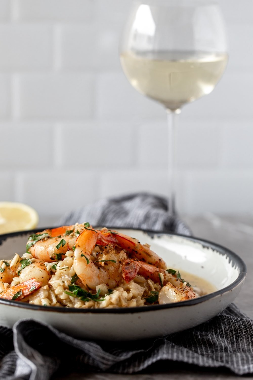 - Shrimp Scampi Risotto- Risotto can easily be doubled or tripled for larger dinner parties and this scampi sauce can also be served over pasta.