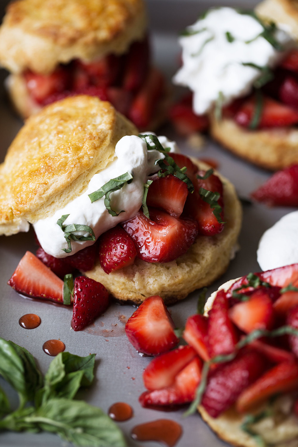 Strawberry Balsamic Shortcake with Basil