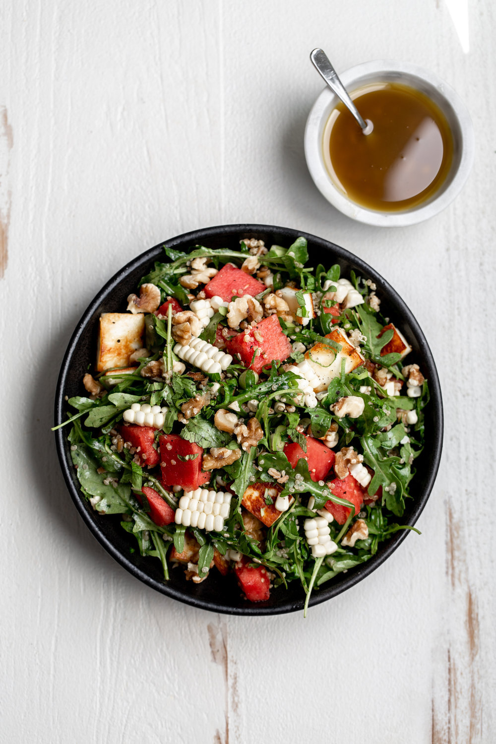 Watermelon Salad with Grains and Grilled Halloumi Cheese