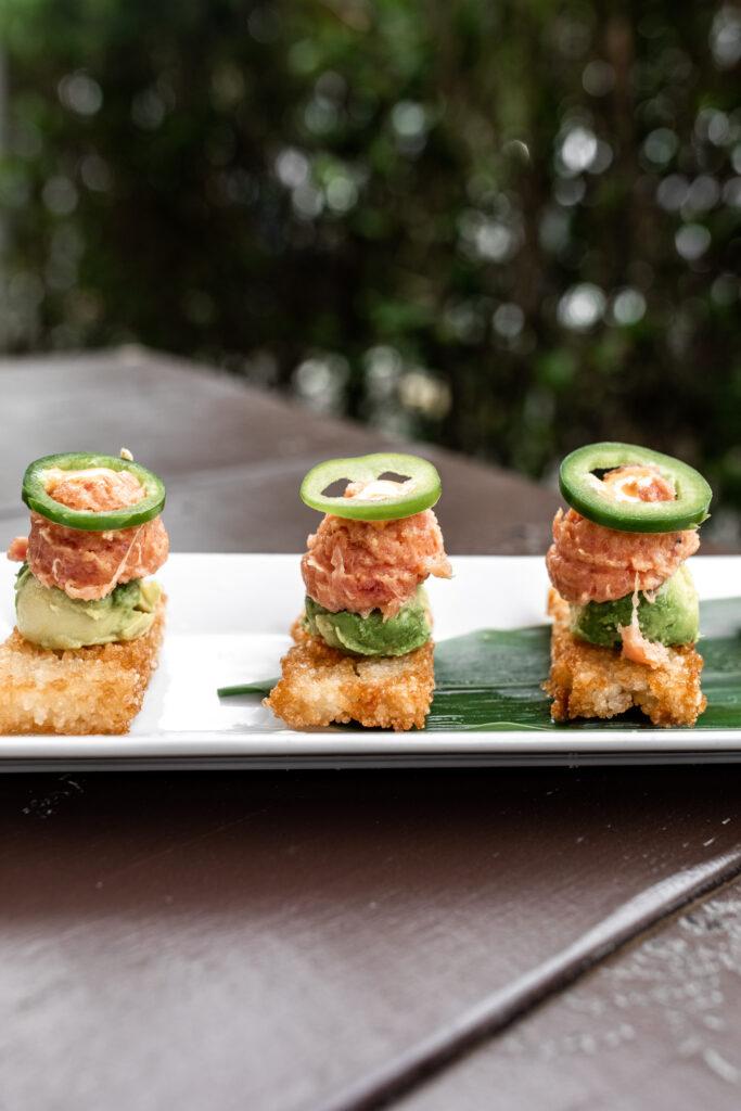 Spicy tuna with crispy rice and avocado