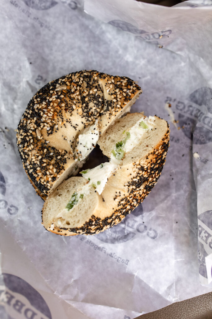 bagel with cream cheese   30th Birthday Weekend in the Hamptons