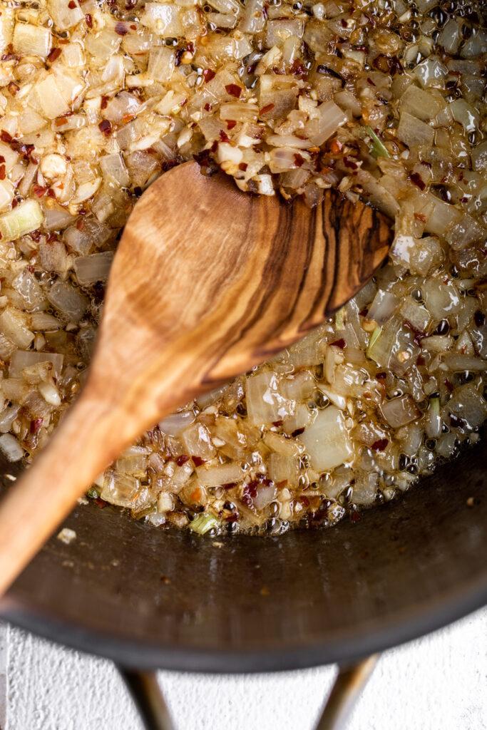 sautéed onion and garlic in bacon fat