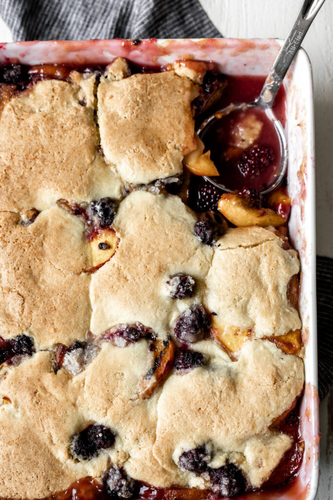 Grilled Peach and Blackberry Cobbler   Fourth of July Menu Ideas