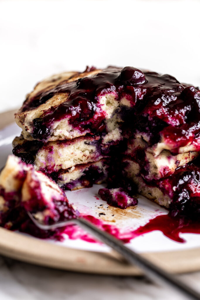 blueberry pancake recipe topped with a blueberry ginger compote.