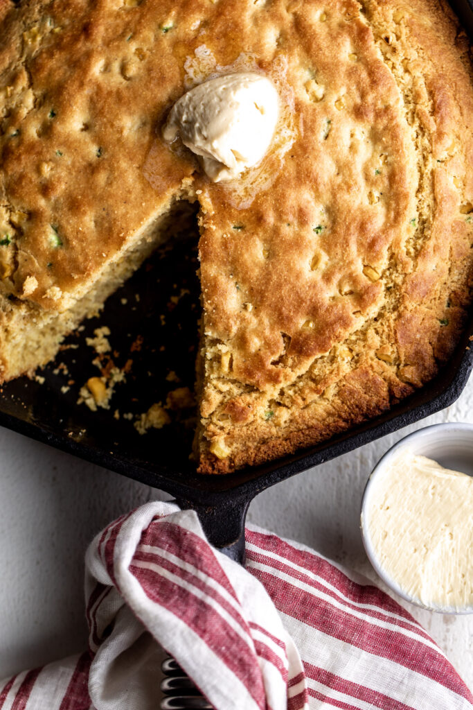 Jalapeño cornbread with whipped maple butter slice out