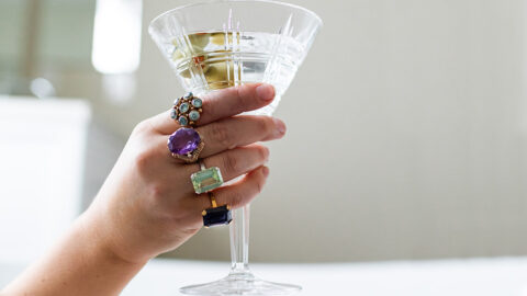 dirty martini glass with cocktail rings