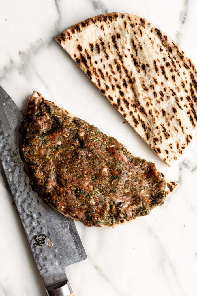 pita stuffed with kofta lamb sausage mixture | Arayes Recipe