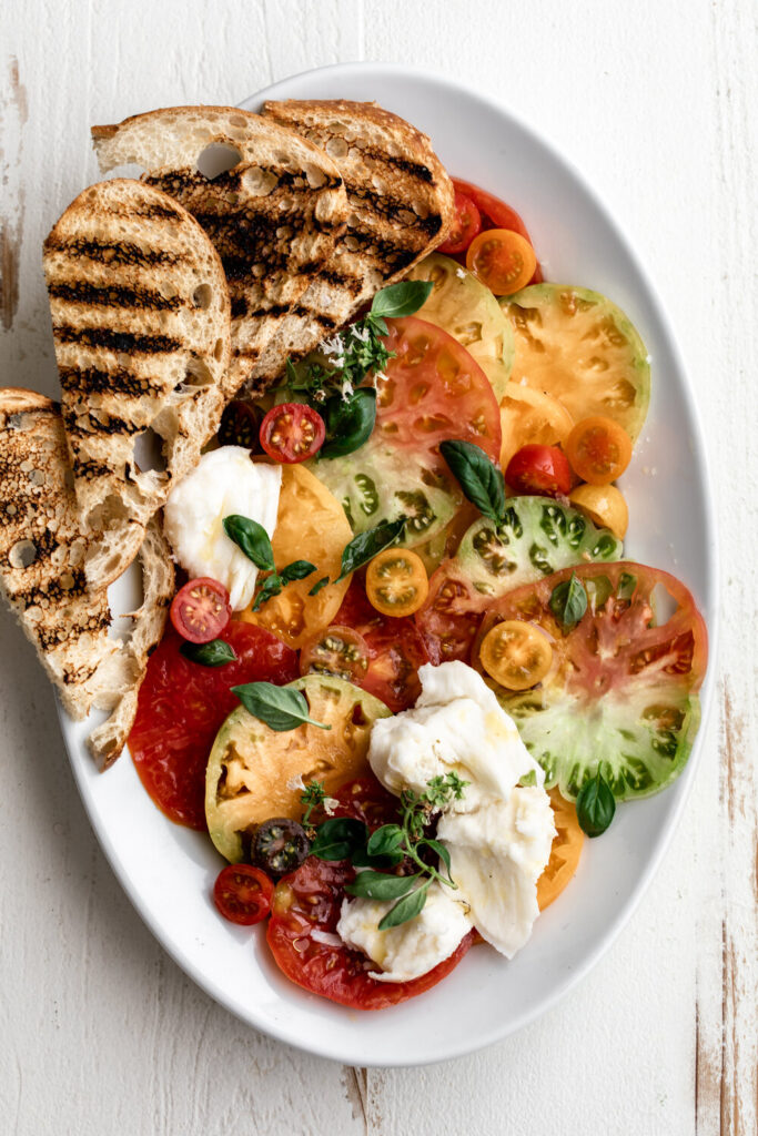 Heirloom Tomato Caprese Salad with Grilled Bread
