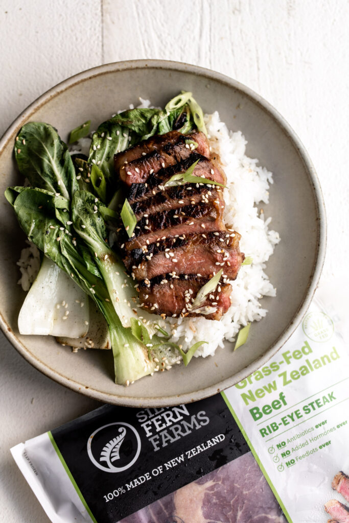 Miso Marinated Grilled Ribeye with Bok Choy and Rice
