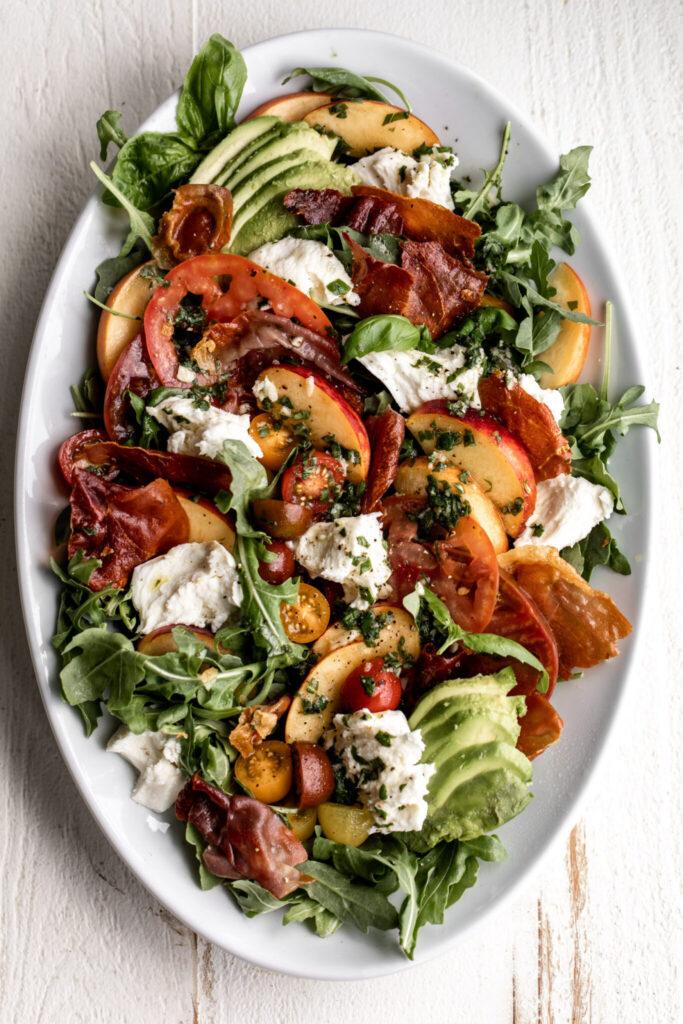 Peach and Tomato Mozzarella Salad with Crispy Prosciutto | 21 Recipes Using Juicy Summer Tomatoes