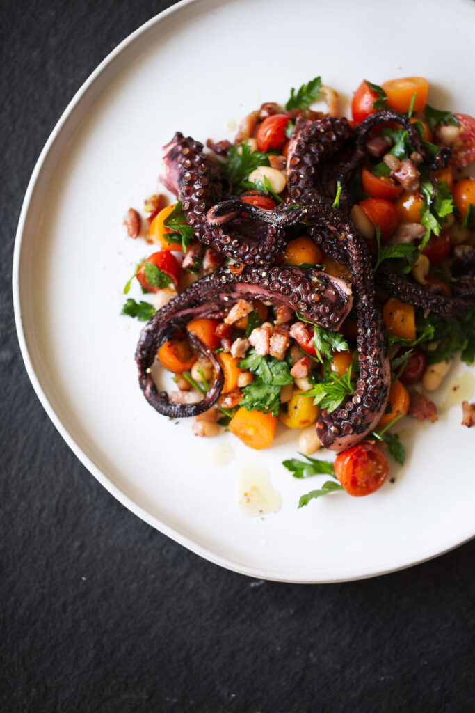 Charred Octopus with White Bean and Tomato Salad | 21 Recipes Using Juicy Summer Tomatoes