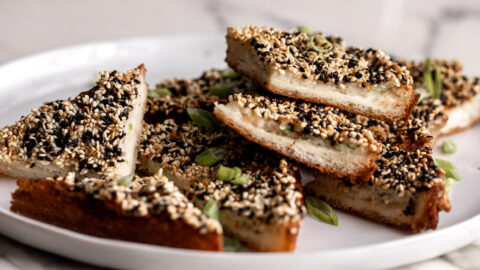 fried Chinese takeout classic shrimp toasts on bread with sesame seeds